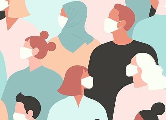 Foule de personnages portant des masques