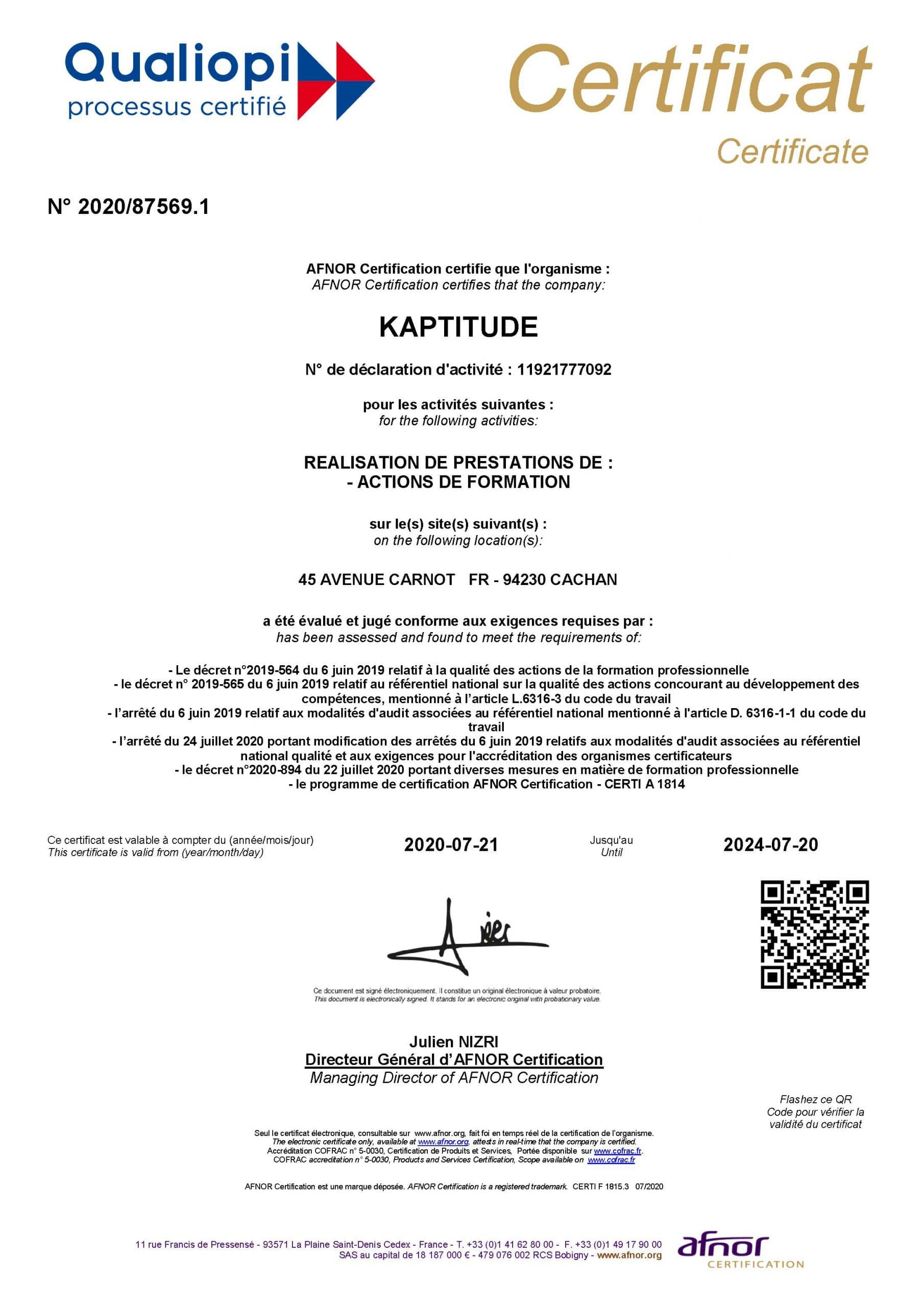 Certificat Qualiopi Kaptitude